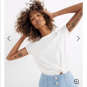Madewell | White Knot-Front Short Sleeve Tee Small